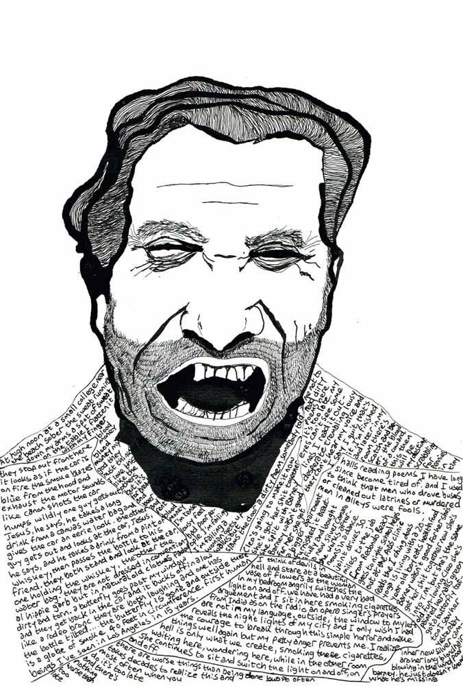 Bukowski wearing his words