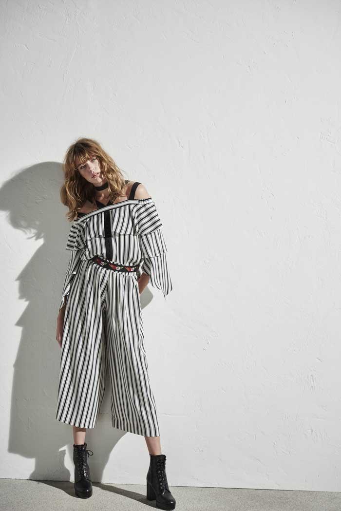 Striped Bardot Blouse-