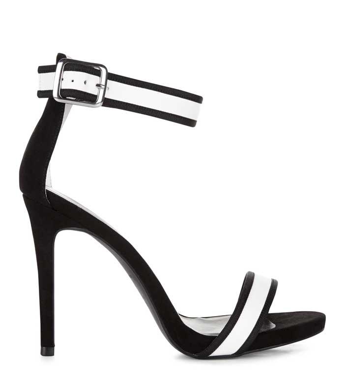 Black Contrast Stripe Heels