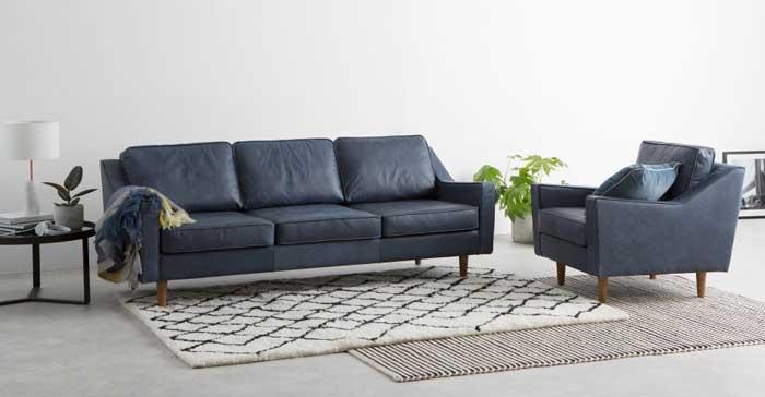 Dallas 3 Seater Sofa, Charm Midnight Premium Leather