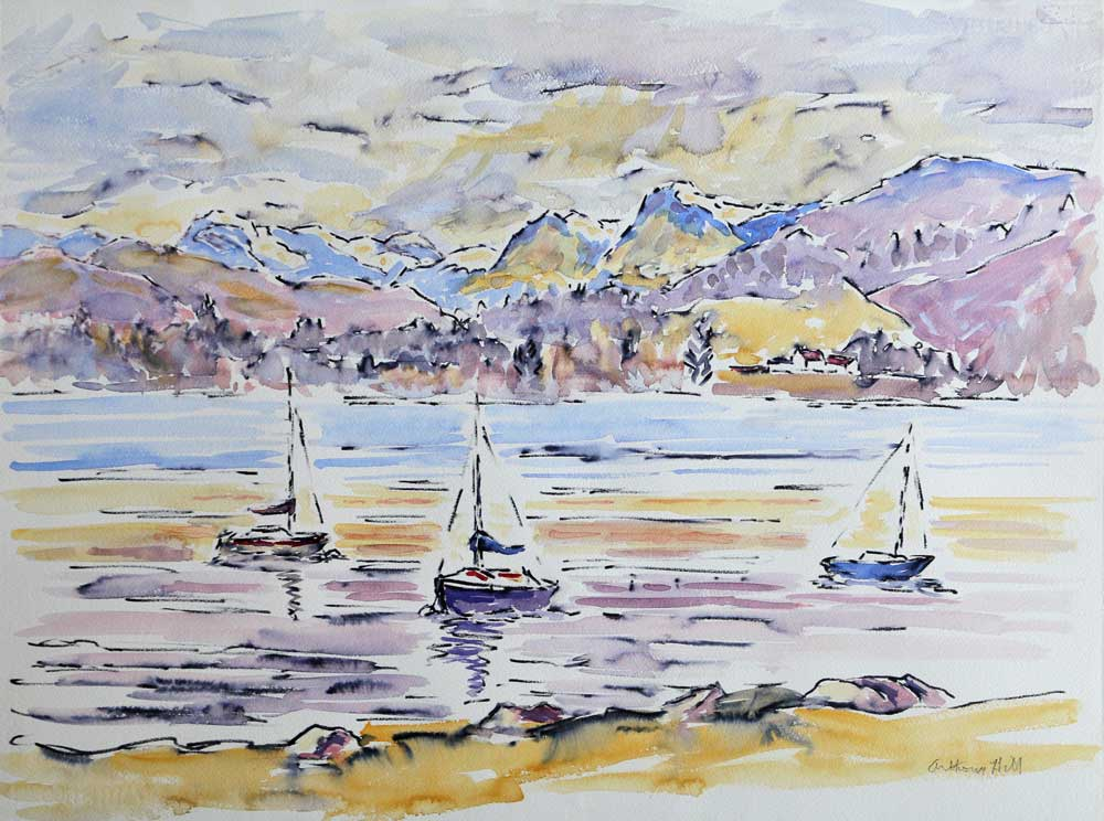 Langdale Pikes in the snow- Anthony W Hill from across Windermere - Anthony W Hill