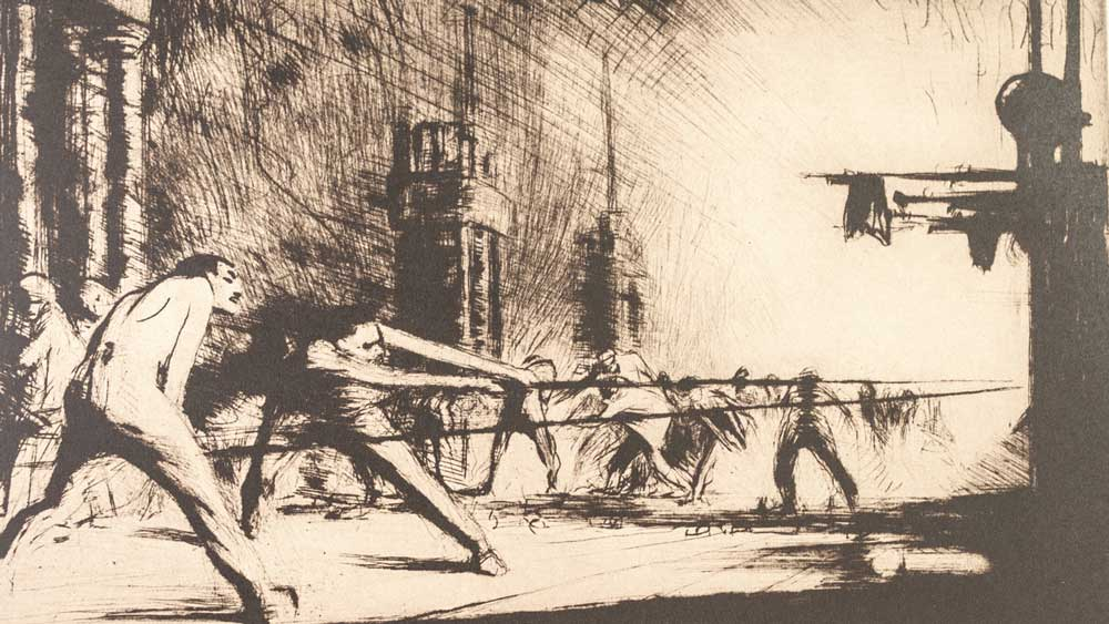 James McBey 1883-1959 signed etching, 'France at her Furnaces' 1917, sold for £380