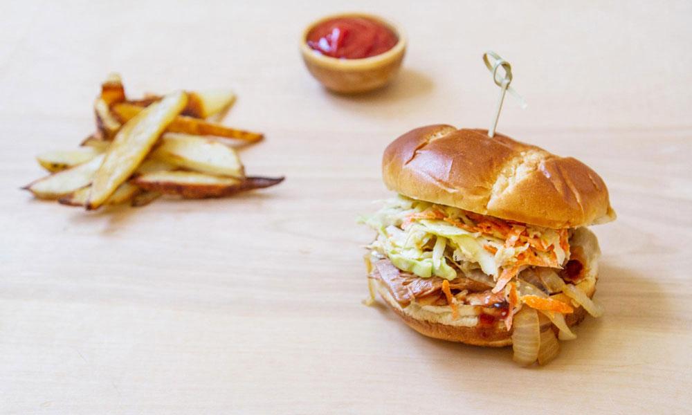 BBQ jackfruit slaw sandwich